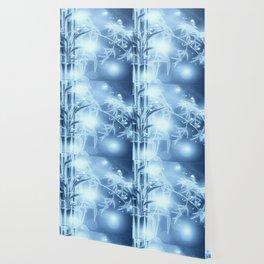 Bambuszweige - blau coloriert Wallpaper