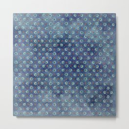 Amazing Watercolor Snowflakes Pattern on the dark blue background Metal Print