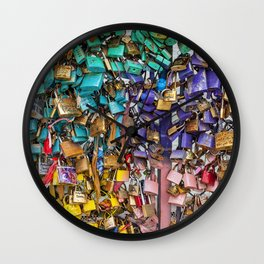 Pastel colored love locks in Paris | Noriko Aizawa Buckles Wall Clock