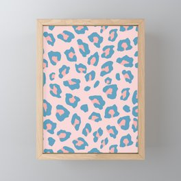 Leopard Print - Peachy Blue Framed Mini Art Print