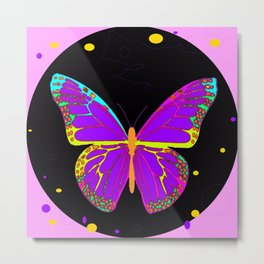 Festive Fantasy Monarch Butterfly in Neon Colors Abstract Metal Print