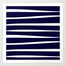 Blue- White- Stripe - Stripes - Marine - Maritime - Navy - Sea - Beach - Summer - Sailor 4 Art Print