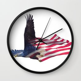 Double exposure effect of north american bald eagle on american flag. Wall Clock