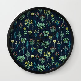 Navy Blue, Mint Green, Turquoise, Coral & Lime Floral Pattern Wall Clock