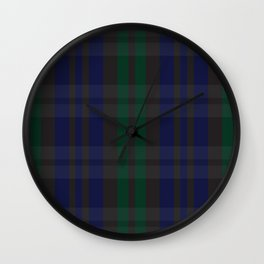Green and blue plaid pattern Wall Clock