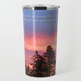 Serenity  Prayer Sunrise Blue Orange Travel Mug