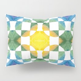 Circular Logic / water color geometric pattern / quilted look Pillow Sham