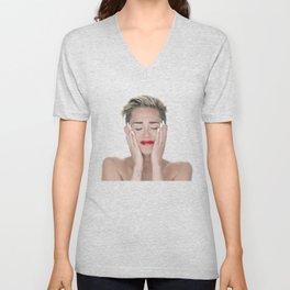 Crying Miley Cyrus Unisex V-Neck