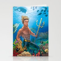 aquaman Stationery Cards featuring Aquaman Black Lagoon (Sun Kissed Water Version) by Brian Hollins art