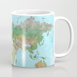Watercolor physical world map (high detail) Coffee Mug