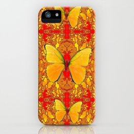 GOLDEN YELLOW BUTTERFLIES RED PATTERN ABSTRACT iPhone Case