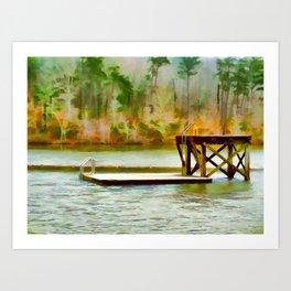 Diving platform at Cheaha Lake Art Print