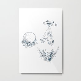 Space Sci Fi Toile Metal Print