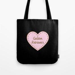 I Love Golden Retrievers Simple Heart Design Tote Bag