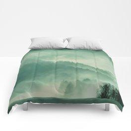 Turquoise Green Monochromatic Mist Misty Pine Forest Field Landscape Comforters