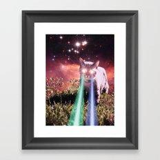 Mega Space Cat Rising Framed Art Print