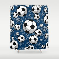 soccer Shower Curtains featuring Soccer by joanfriends