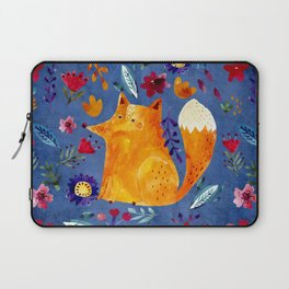The Smart Fox in Flower Garden Laptop Sleeve