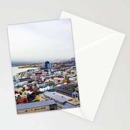Rainbow Roofs and Buildings of Reykjavik Iceland Stationery Cards