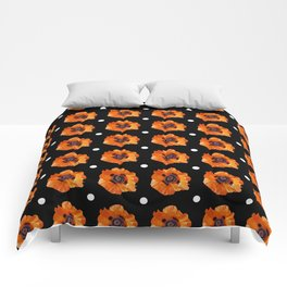 Orange Poppy Pattern Comforters
