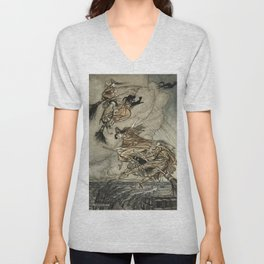 """Four Witches """"Up The Chimney"""" by Arthur Rackam Unisex V-Neck"""