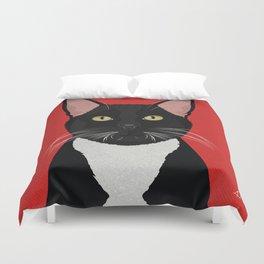 Tuxedo Cat Design in Bold Colors for Pet Lovers Duvet Cover