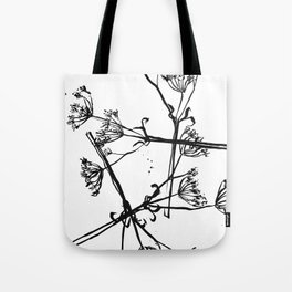 Nature illustration in black ink 1 Tote Bag