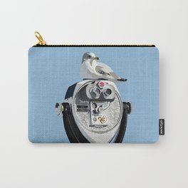 Seagull on Binoculars by the Ocean Illustrated Print Carry-All Pouch