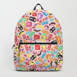 Rainbow Diet - a colorful assortment of hand-drawn candy on pale pink Backpack