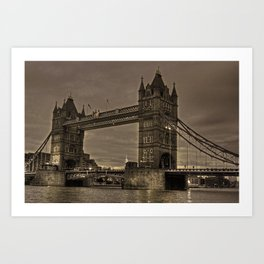 Tower bridge in sepia Art Print