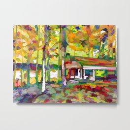 Houses and autumn trees Metal Print