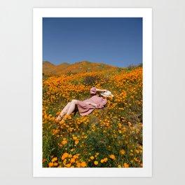 Sleeping in the Poppies Art Print