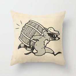 THE  WHISKEY SMUGGLER - vintage cartoon 80's Throw Pillow