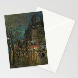 Paris, Left Bank Grand Boulevards, Twilight French landscape painting by Konstantin Korovin Stationery Cards