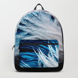 Blue and white feathers Backpack