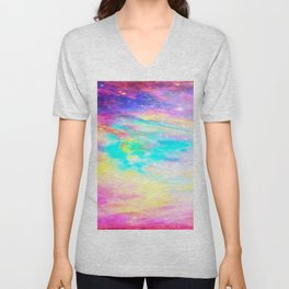 Abstract Galaxy : Bright & Colorful Unisex V-Neck