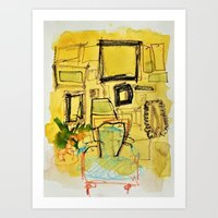Untitled Painting with Chair and Picture Frames Art Print