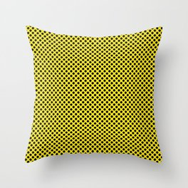 Blazing Yellow and Black Polka Dots Throw Pillow
