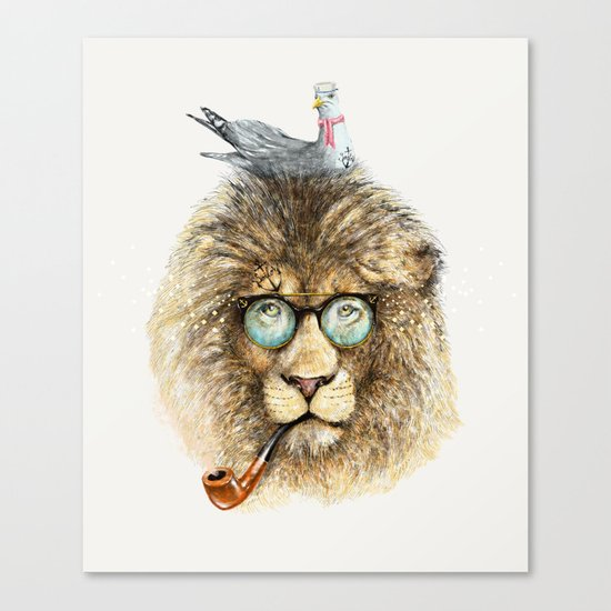 Lion sailor & seagull Canvas Print