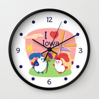 coraline Wall Clocks featuring Ernest and Coraline | I love Iowa by Hisame Artwork