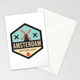 Amsterdam Windmill Badge XXX Stationery Cards