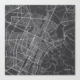 Turin Map, Italy - Gray Canvas Print