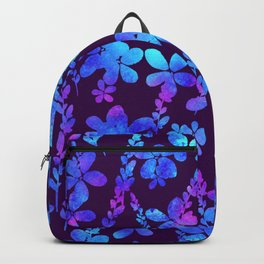 Blue watercolor  flowers and leaf. Backpack