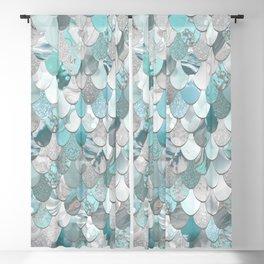 Mermaid Aqua and Grey Blackout Curtain