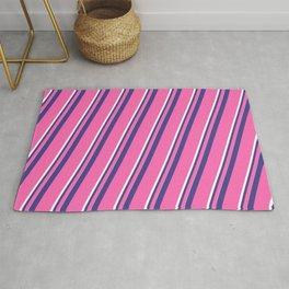 Dark Slate Blue, Hot Pink & White Colored Pattern of Stripes Rug