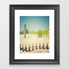 Ocean beach dunes Framed Art Print