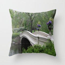 Bow Bridge Central Park New York Throw Pillow