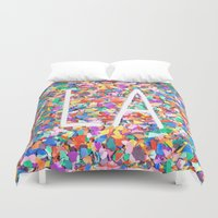 la Duvet Covers featuring LA by StuartWallaceArt
