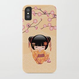 Japanese Ume Kokeshi Doll iPhone Case