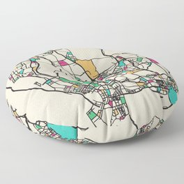 Colorful City Maps: Shenzhen, China Floor Pillow